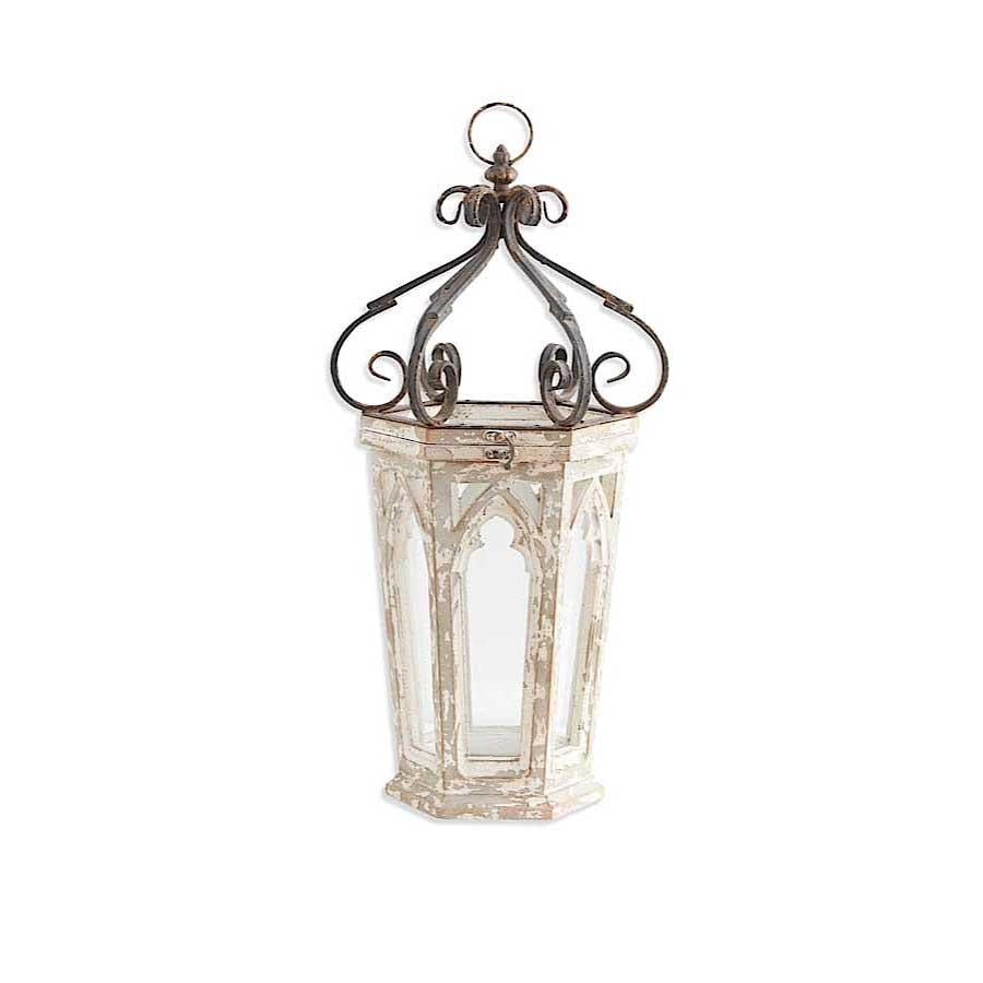 Metal Scroll Topped Wood Cathedral Window Lantern