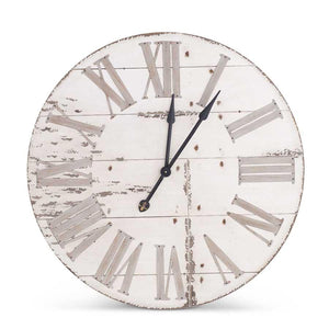 "36"" Round Antique White Wood Wall Clock"