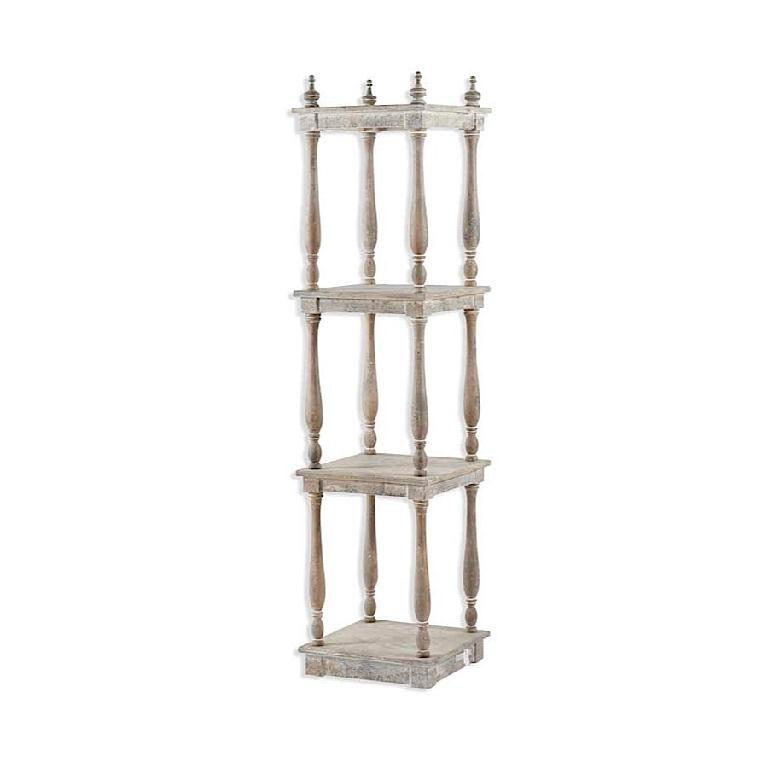 White Wood Square 4 Shelf Unit