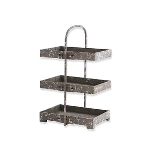 3 Tiered Metal Rectangular Tray Stand w/Handle