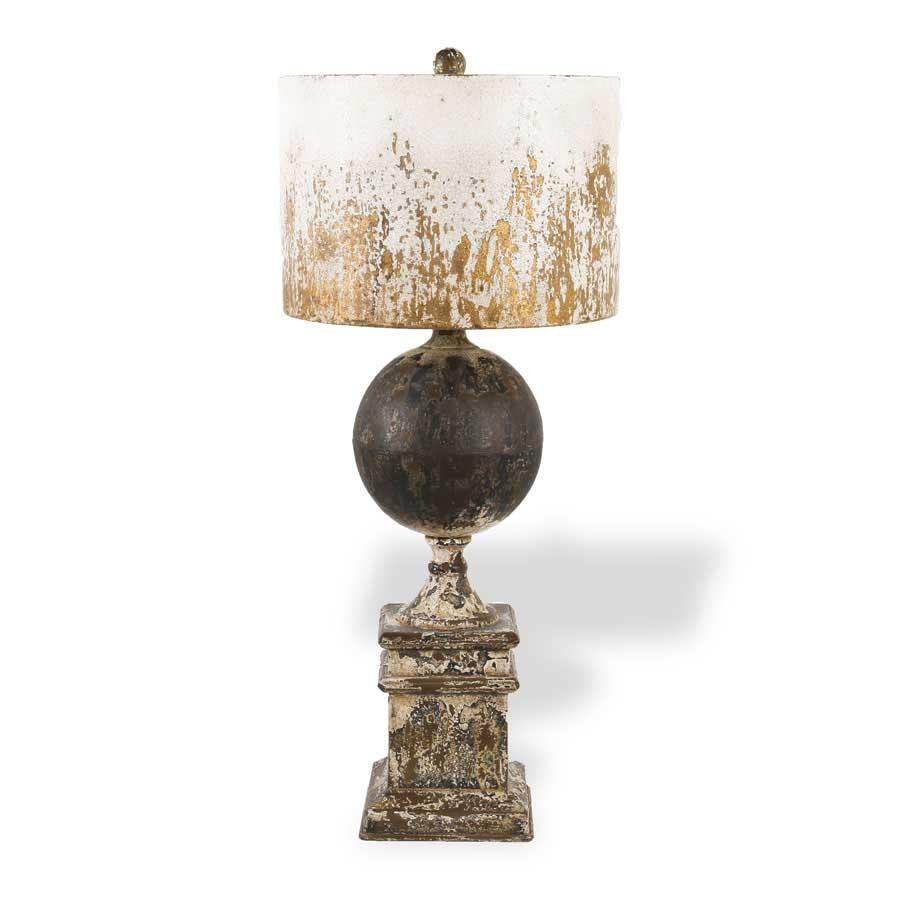 "28"" Distressed Metal Square Base Lamp w/Ball and White Rustic Shade"
