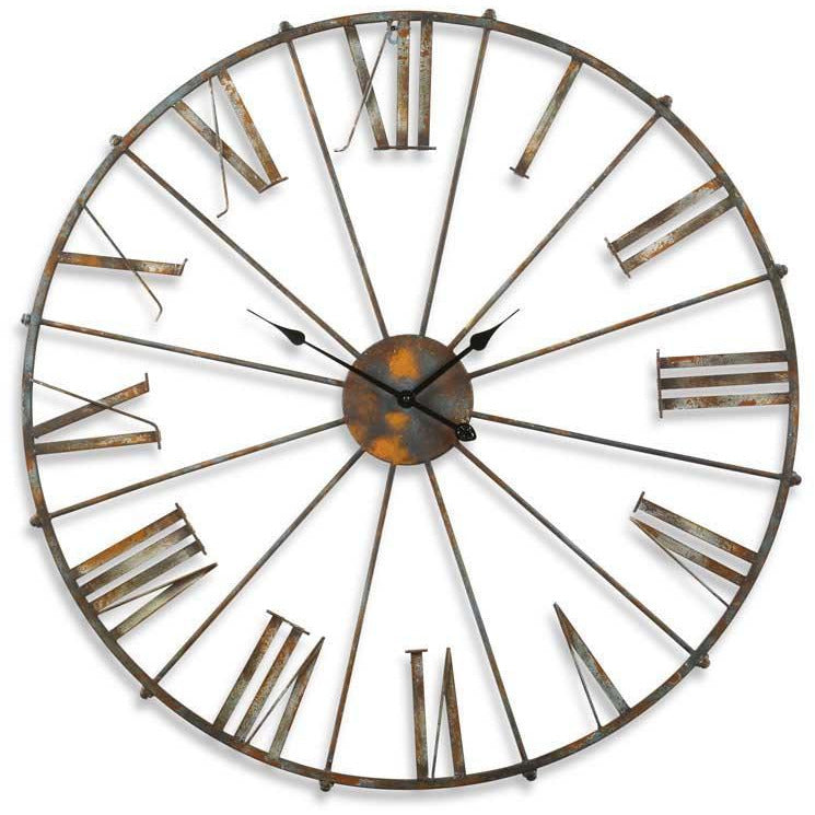 "38.5"" Rustic Metal Open-Faced Wall Clock"