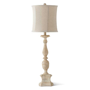 "34"" Distressed White Lamp w/White Shade"