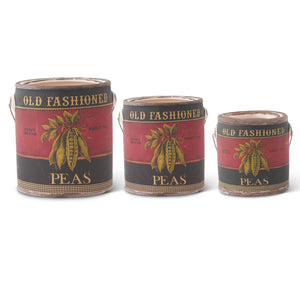 Set of 3 Ceramic Seed Cans w/Pea Decal (Grad Sizes)
