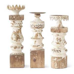 Set of 3 Metal and Wood Candleholders w/White Washed Finish