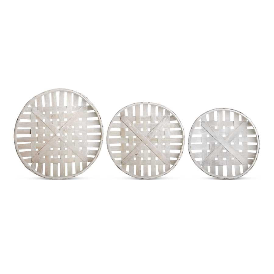 Set of 3 Round Nesting Tray Baskets in Gray Finish