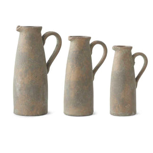Set of 3 Terracotta Pitchers with Bronze Glaze