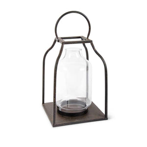 "18"" Lantern w/Bronze Finish and Glass"