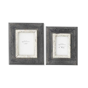 Set of 2 Black and White Wooden Picture Frames (Grad Sizes)