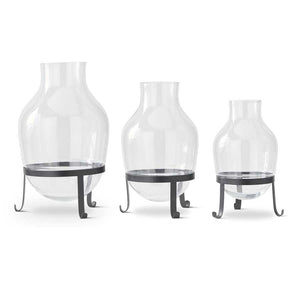 Set of 3 Glass Vases on Black Metal Stands (Grad Sizes)