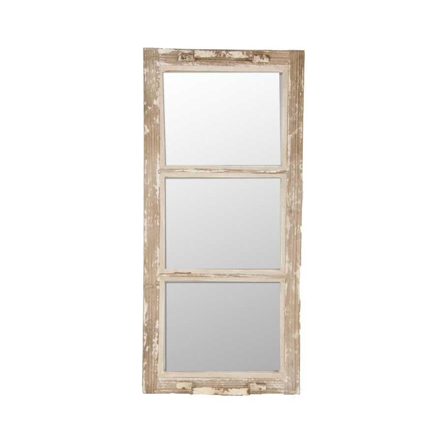 Wood and Metal 3 Pane Mirror with Handles