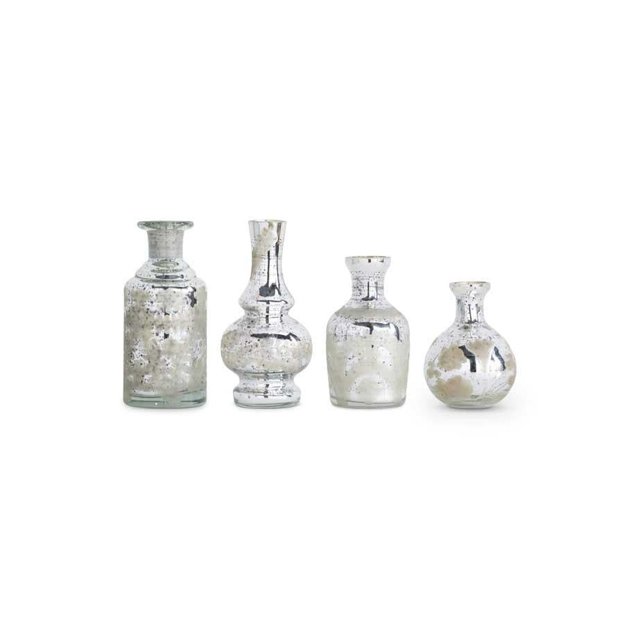 Assorted Small Mercury Glass Bud Vases w/Etching (4 Styles)