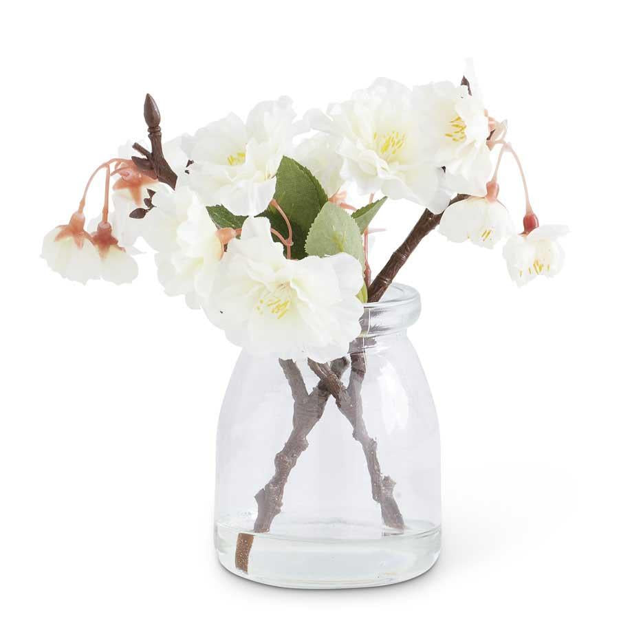Cream Cherry Blossom in Glass Jar
