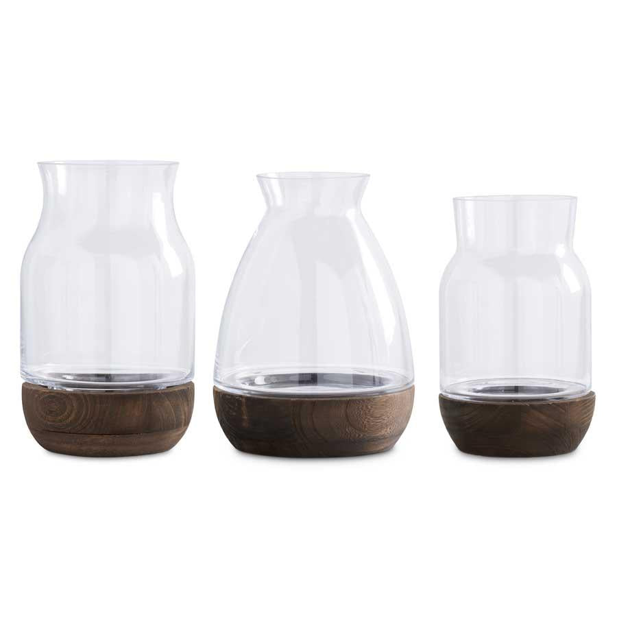 Glass Vases With Wood Base