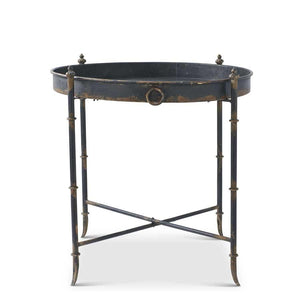 "33"" Round Black Metal and Gold Washed Tea Table"