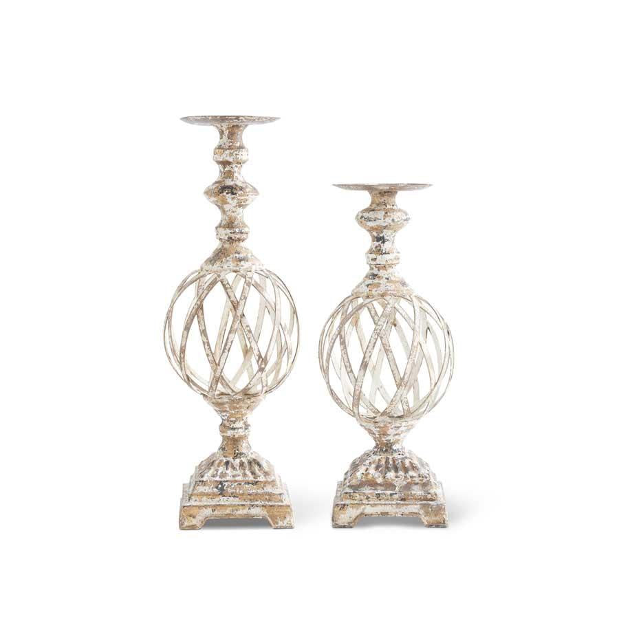 Set of 2 White and Gold Washed Woven Metal Candleholders (Grad Sizes)