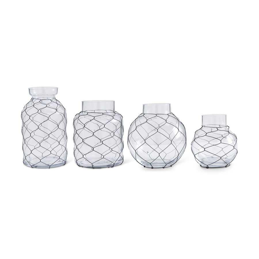 Glass Jars With Black Chicken Wire