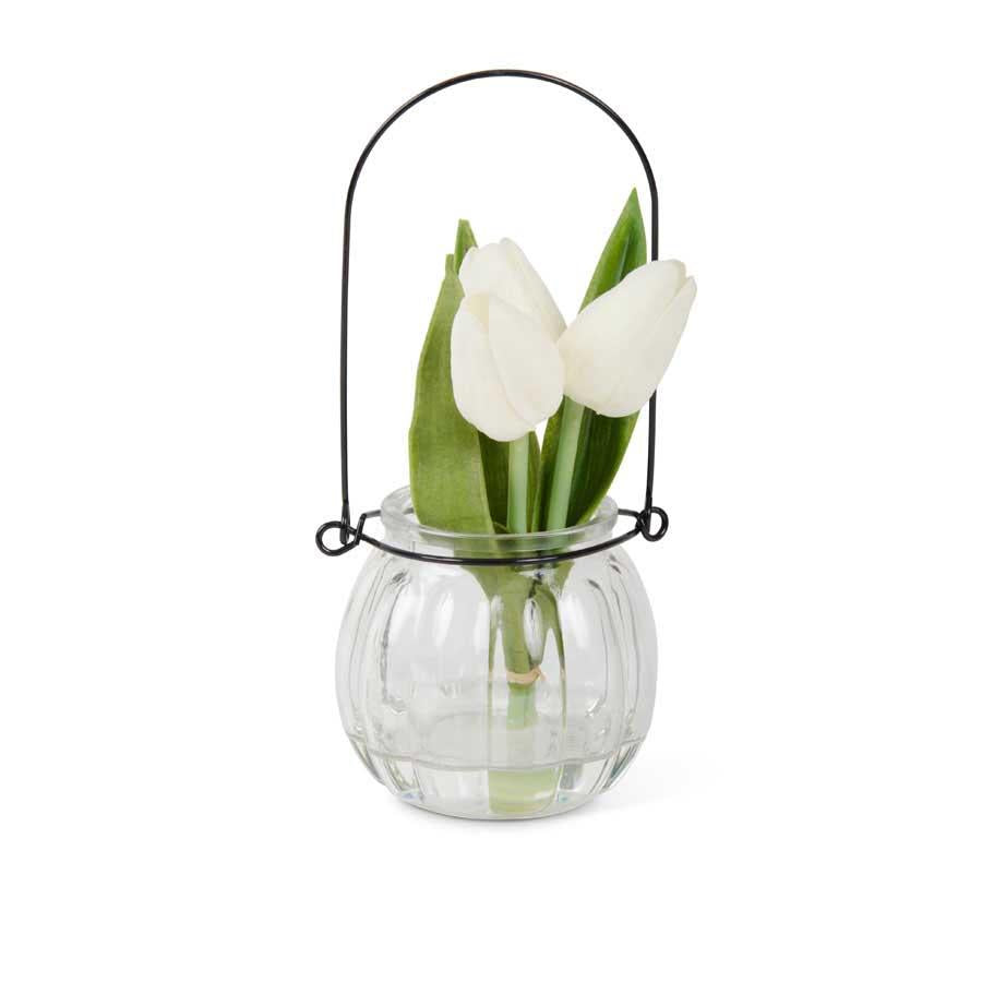 Tulips in Bottle - White