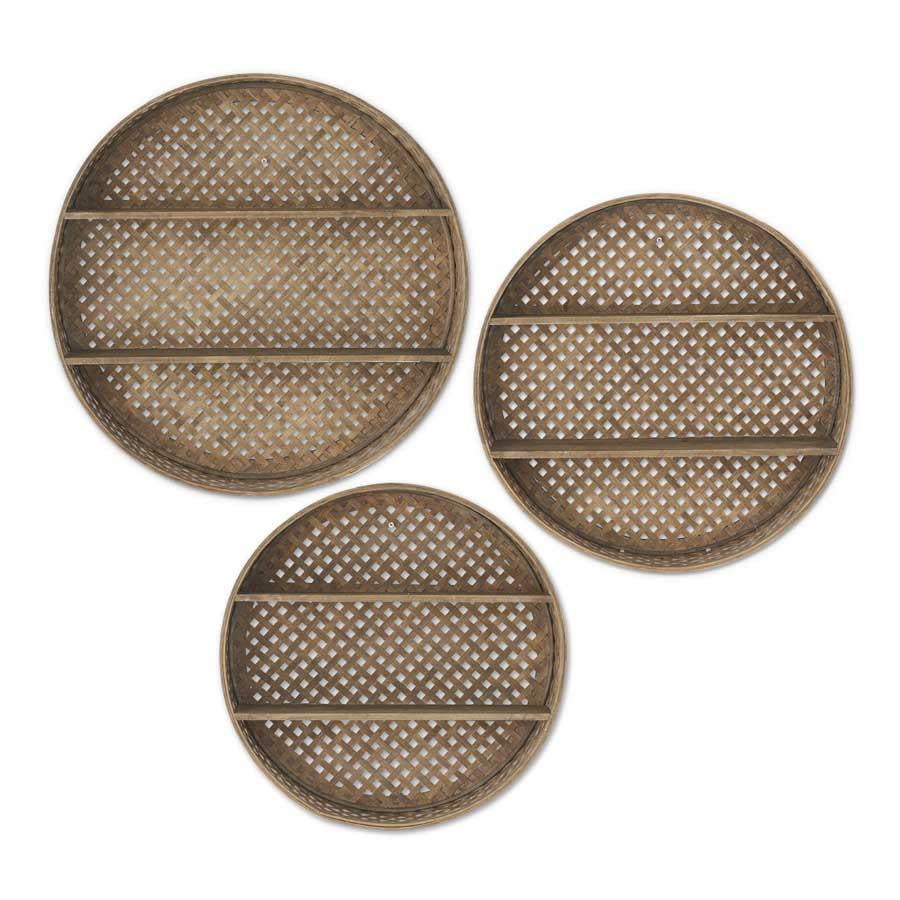 Set of 3 Round Bamboo Basket Weave Double Shelf Wall Décor (Grad Sizes)