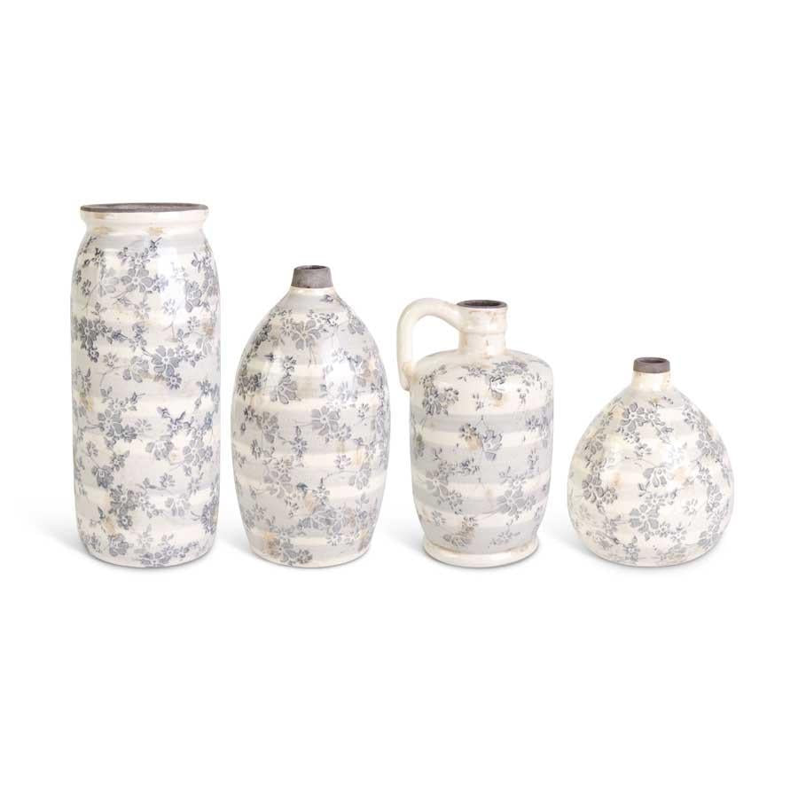 Ceramic Cream Ceramic Crackle w/Gray Floral Vases