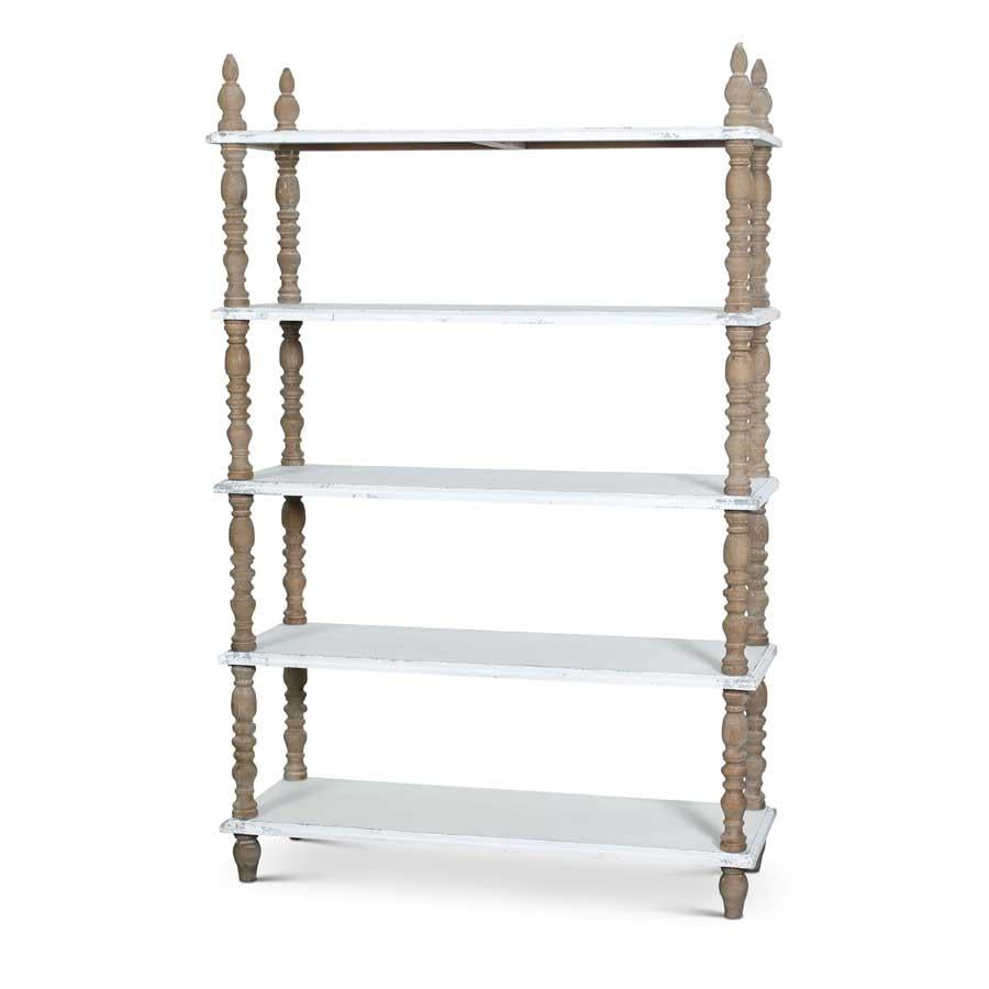 Wood Bookshelf w/5 Distressed White Shelves
