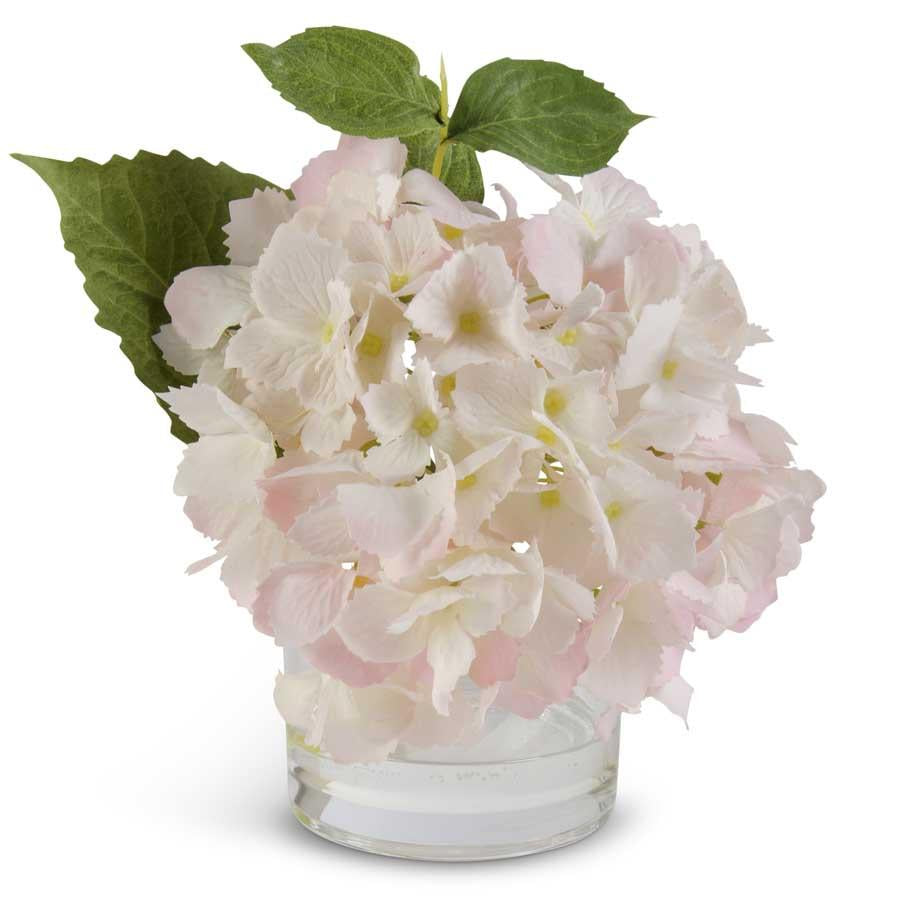 Real Touch Hydrangea in Glass Vase -  Pink