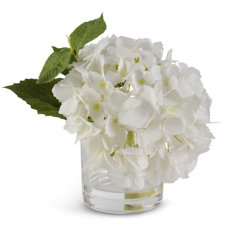 White Real Touch Hydrangea in Glass Vase - White