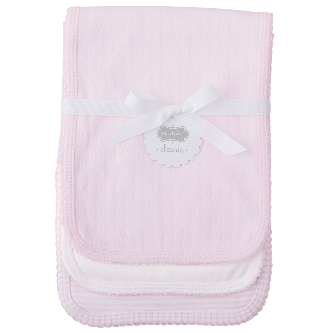 Pink Pointelle Burp Cloths