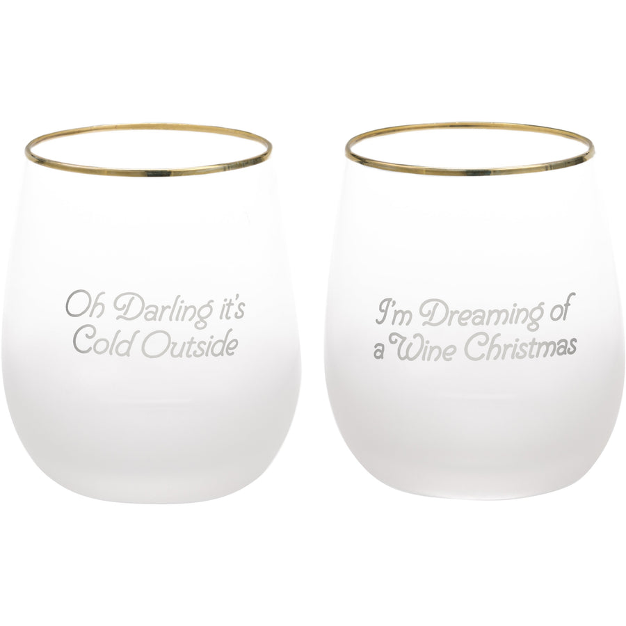 """A Wine Christmas"" Frosted Stemless Set"