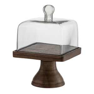 Square Cloche with Natural Pedestal
