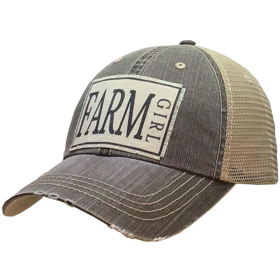 """Farm Girl"" Distressed Trucker Cap"