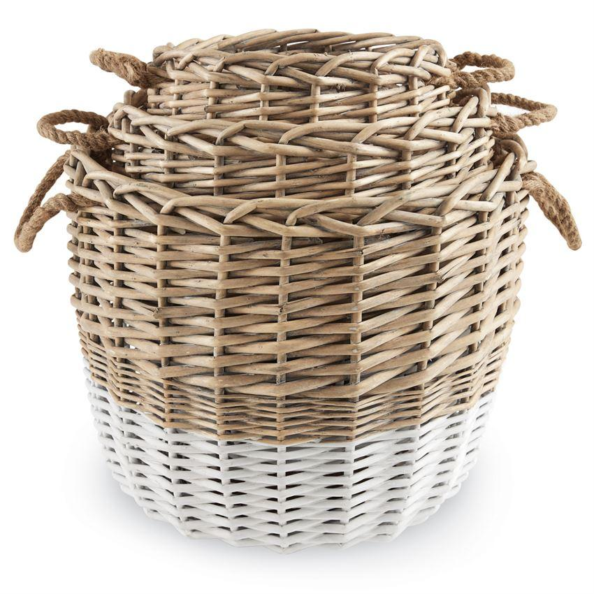 Dual Tone Wicker Basket