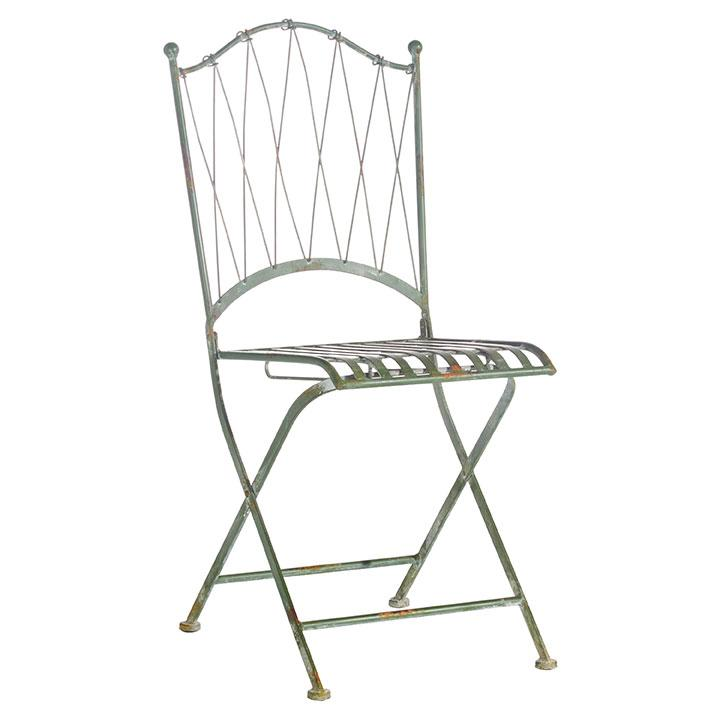 Distressed Green Iron Folding Chair