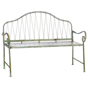 Distressed Green Knotted Iron Bench