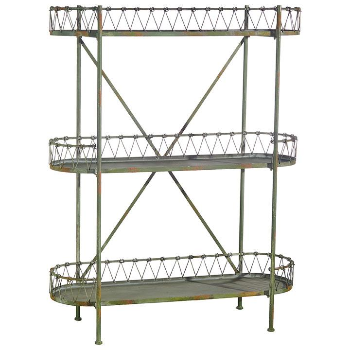 Distressed Green Shelving Unit