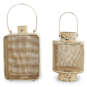 Small Distressed Cream Tin Lanterns