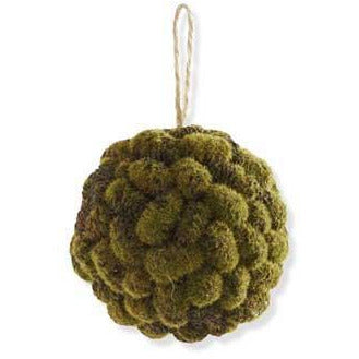 [12/96] | 4 Inch Mossy Mini Pinecone Ball Ornament