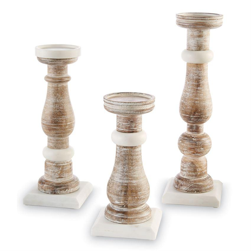 Marble & Wood Candlesticks