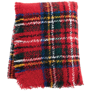 Red Tartan Boucle Throw