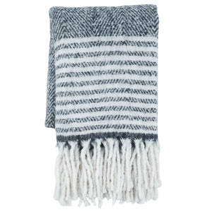 Wool Blend Fringe Blanket - Blue