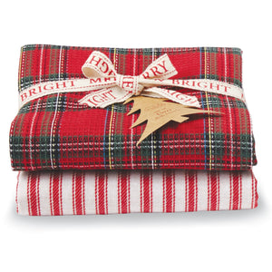 Red Tartan & Striped Dish Towel Set