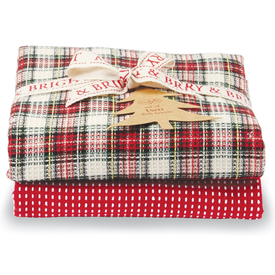 White Tartan & Striped Dish Towel Set
