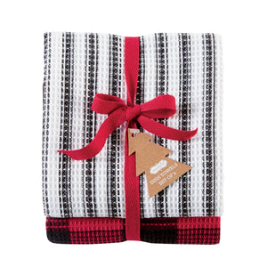 Black Stripe Buffalo Dish Towel Set