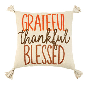 Grateful Thankful Dhurrie Pillow