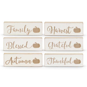 Engraved Wood Harvest Message Tabletop Signs
