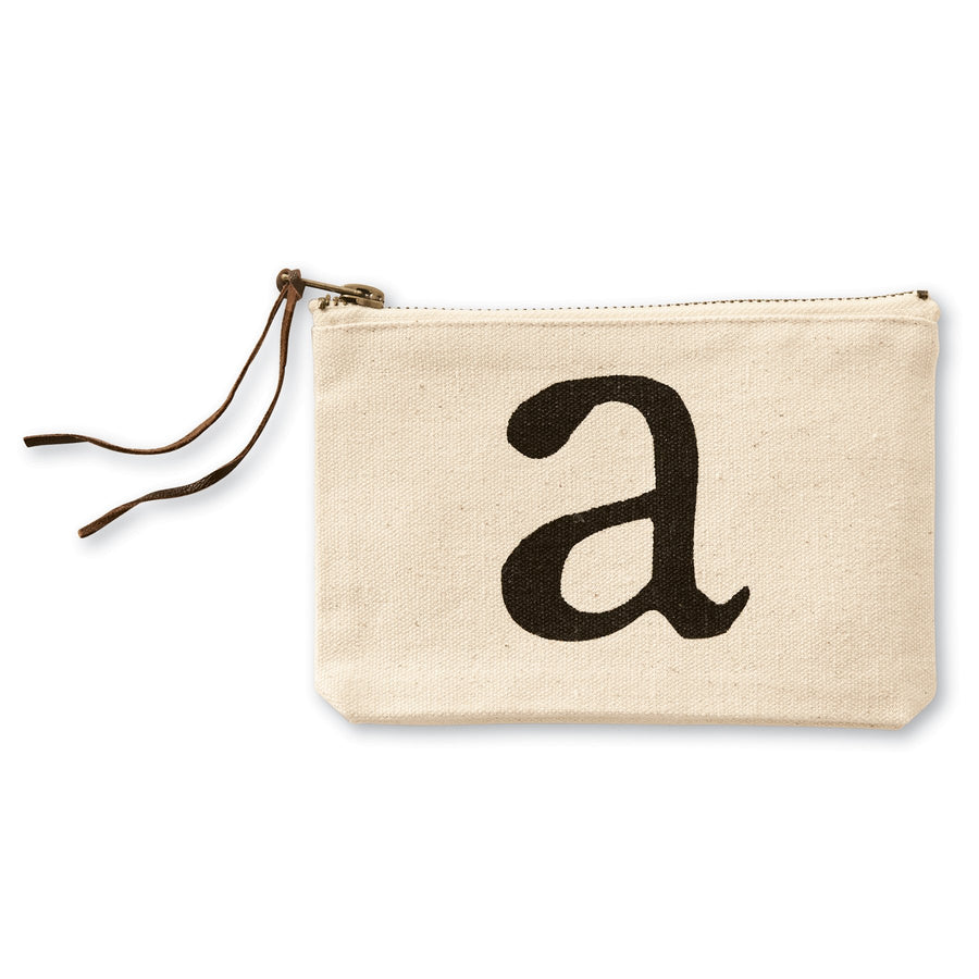 """a"" Initial Canvas Cosmetic Pouches"
