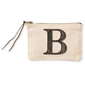 """B"" Initial Canvas Cosmetic Pouch"