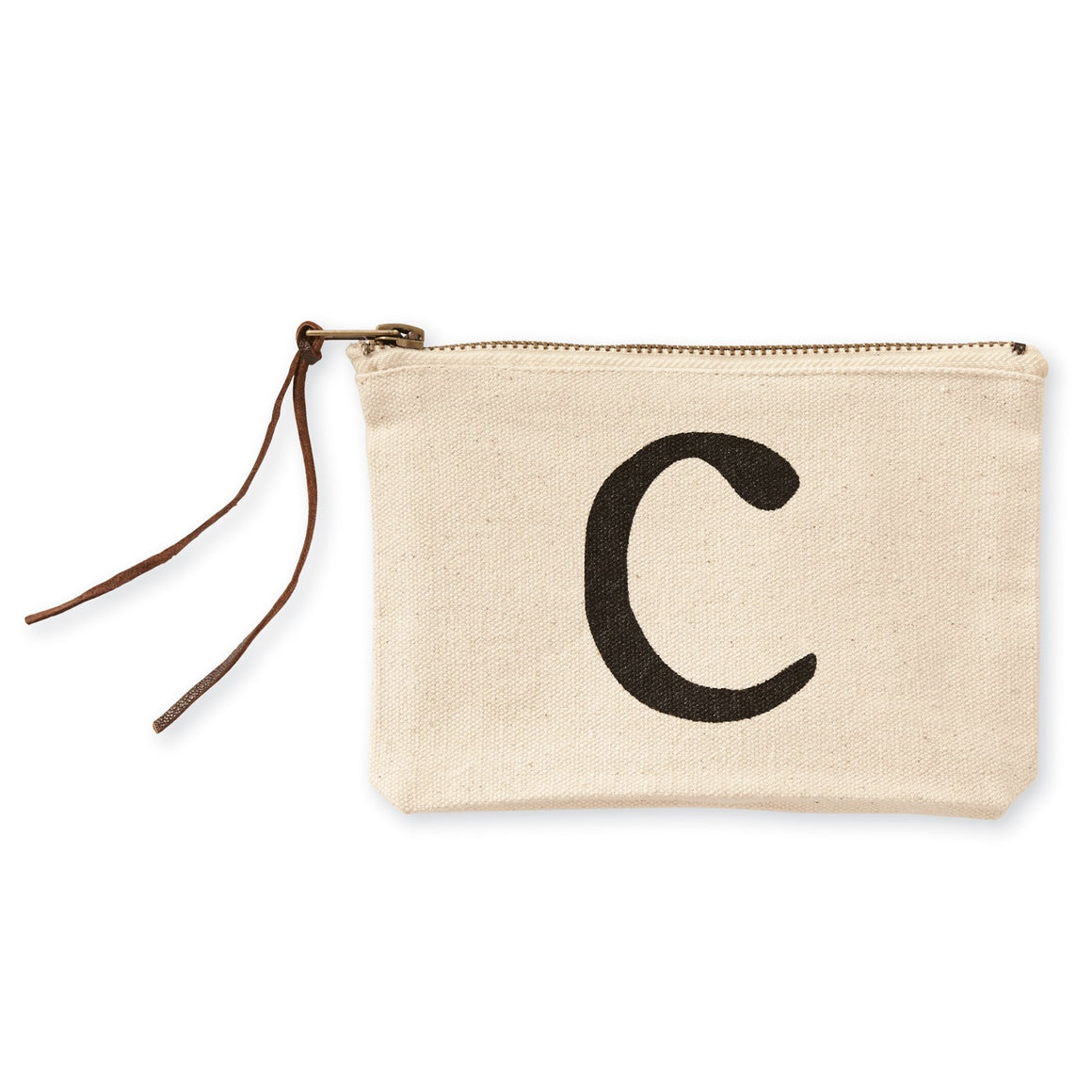 """C"" Initial Canvas Cosmetic Pouch"