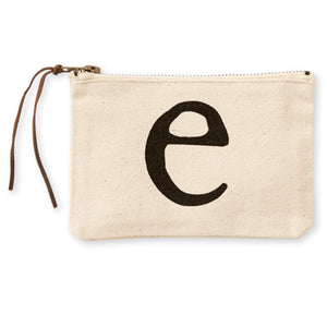 """e"" Initial Canvas Cosmetic Pouch"