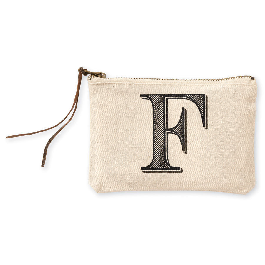 """F"" Initial Canvas Cosmetic Pouch"
